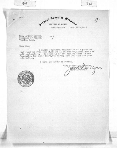 Jack Danciger to Governor Arthur Capper - Page