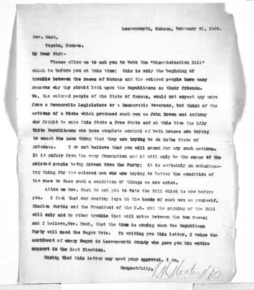C. M. Moates to Governor Edward Hoch - Page