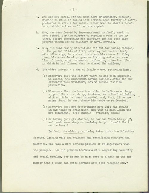 Testimony concerning the G. I. Bill of Rights presented by Harry W. Colmery - Page