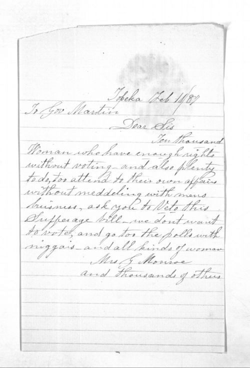 Mrs. G. Monroe to Governor John Martin - Page