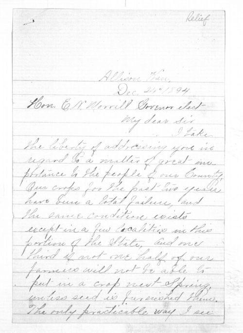 C. C. Evans to Governor Edmund Morrill - Page