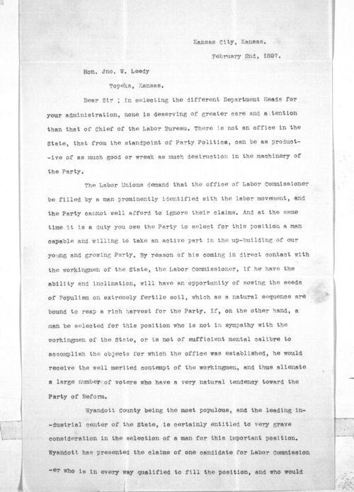 Jason A. McCarrick to Governor John Leedy - Page