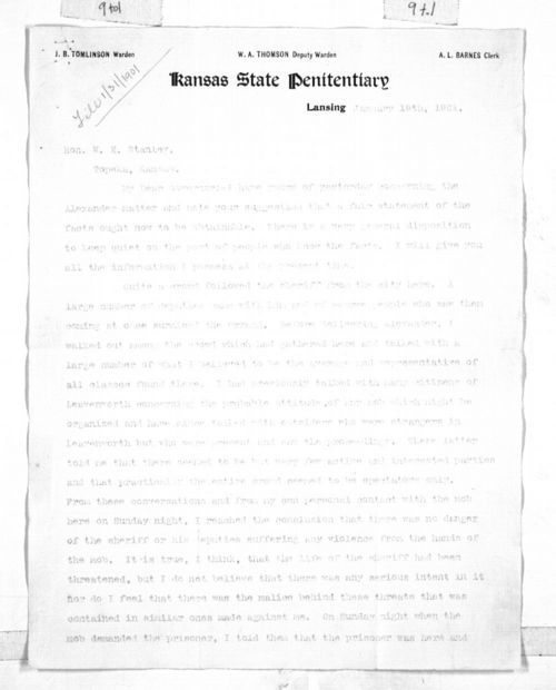Letter : J. B. Tomlinson to Governor William Stanley - Page