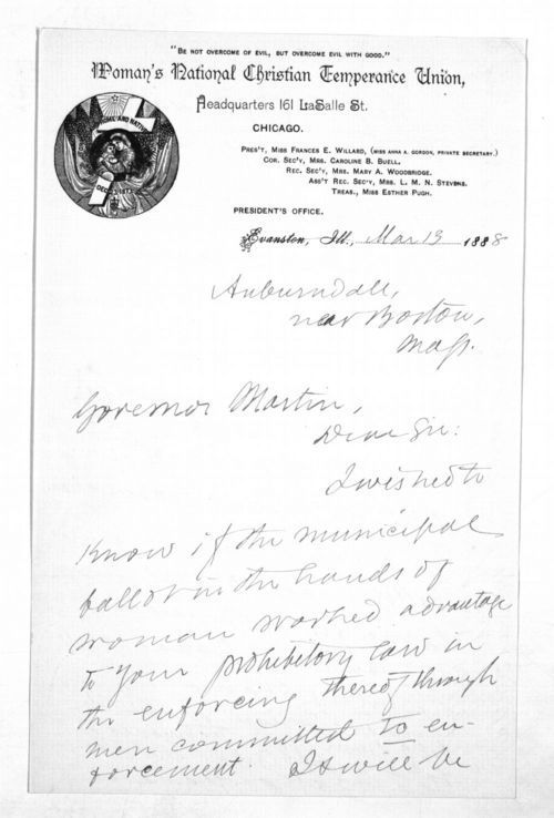 Frances Elizabeth Willard to Governor John Martin - Page