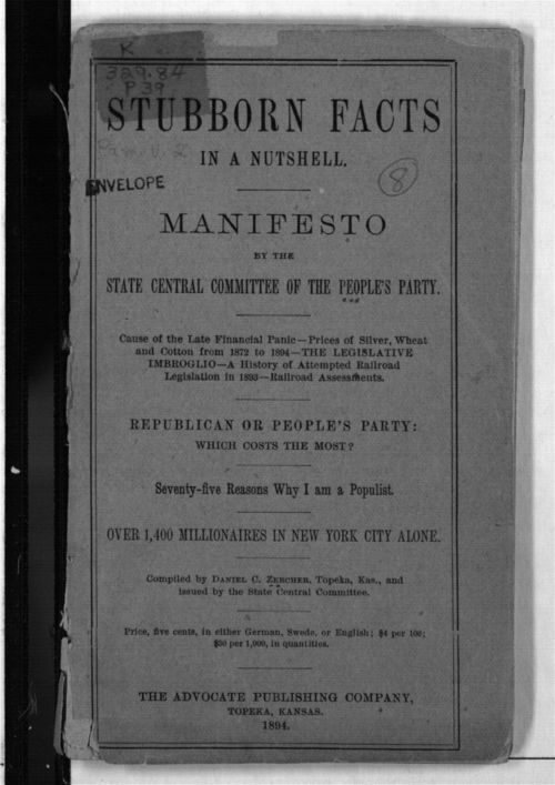Stubborn Facts in a Nutshell.  Manifesto by the State Central Committee of the People's Party. - Page