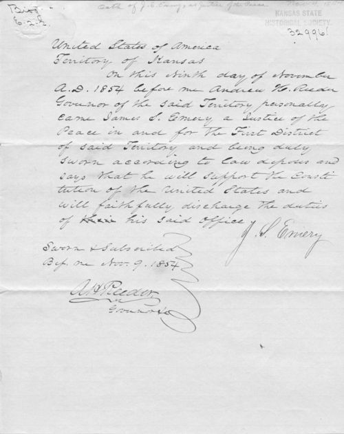 Document affirming that James S. Emery was sworn in as Justice of the Peace - Page