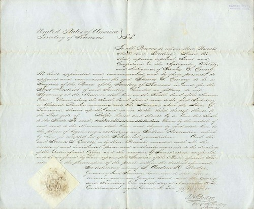 Certificate appointing James S. Emery as a Justice of the Peace for the First District, Kansas Territory - Page