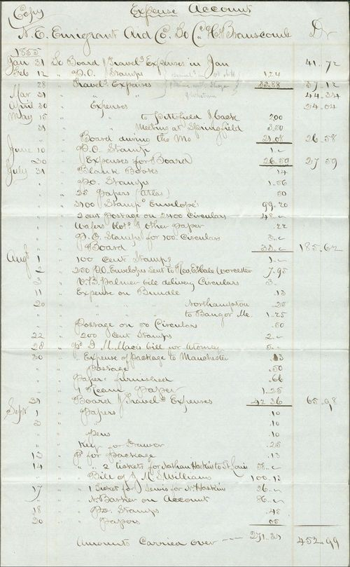 Expense Account, N.E. Emigrant Aid Co. - Page