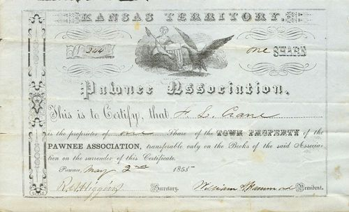 Town Share Certificate, Pawnee Association - Page