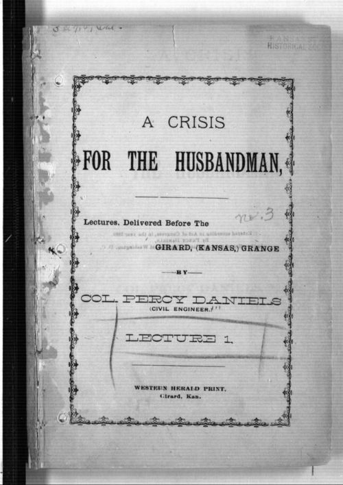Image of title page of A Crisis for the Husbandman by Percy Daniels