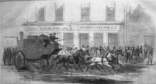 Butterfield's Overland mail coach starting out from Atchison, Kansas - Page