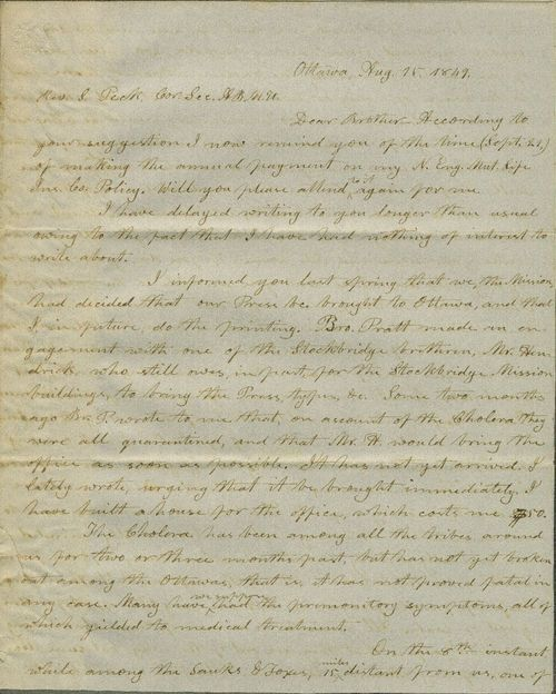 Jotham Meeker to Rev. S. Peck - Page