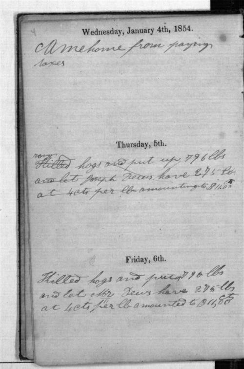Dandridge E. Kelsey's 1854 diary - Page