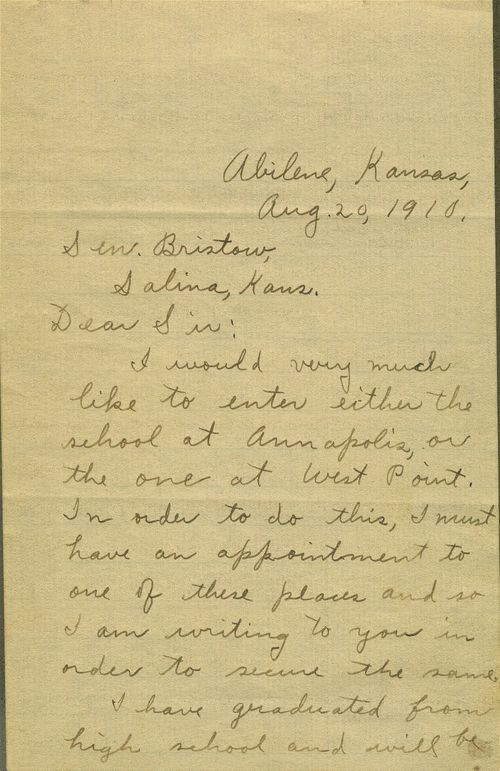 Correspondence between Dwight David Eisenhower and U.S. Senator Joseph L. Bristow concerning Eisenhower's appointment to a military academy - Page