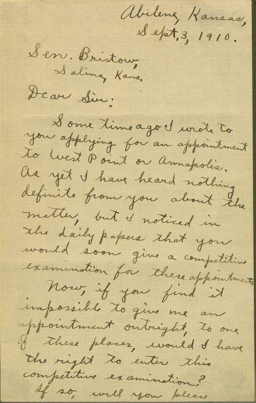 Dwight David Eisenhower to Joseph Little Bristow, United States Senator - Page