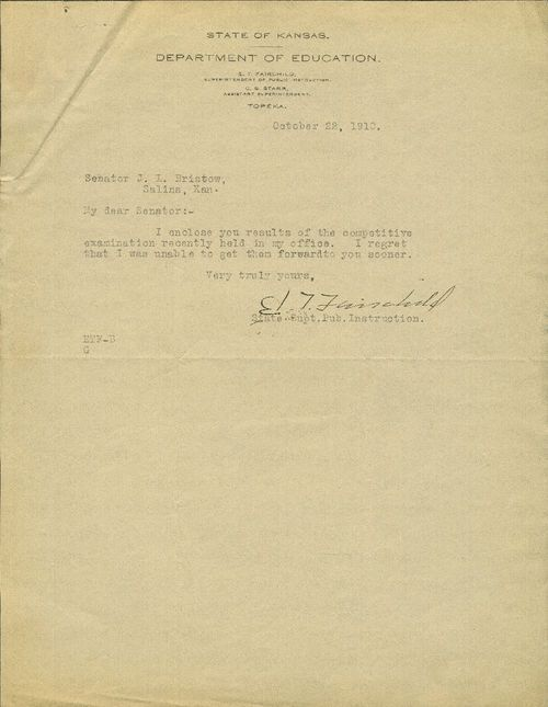 E. T. Fairchild to United States Senator Joseph Little Bristow - Page