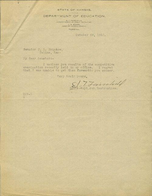 E. T. Fairchild to United States Senator Joseph Little Bristow - Page