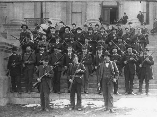 Group of assistant sergeant at arms at the statehouse during the Populist War, Topeka, Kansas - Page