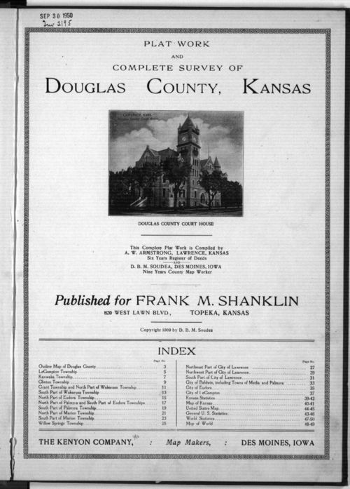Plat book and complete survey of Douglas County, Kansas - Page