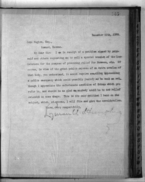 Governor Lyman Humphrey to John Hughes - Page