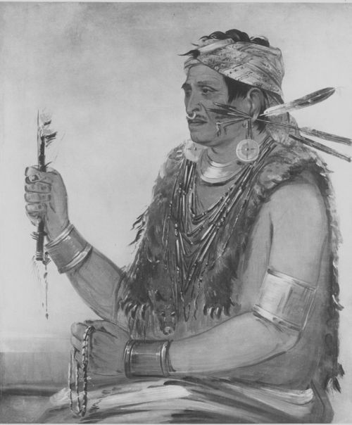 Image of a George Catlin portrait of Tenskwatawa, a revered religious figure among the Shawnee.