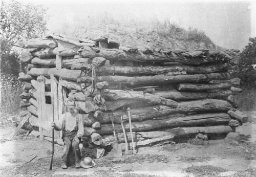 Log cabin with sod roof - Page