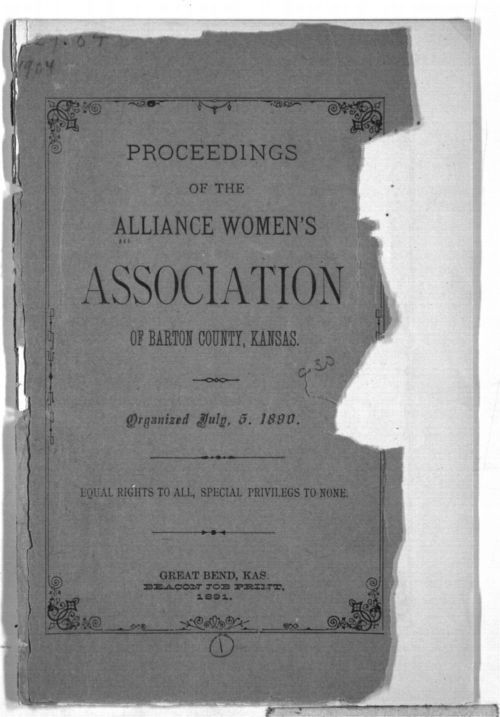 Proceedings of the Alliance Women's Association of Barton County, Kansas - Page