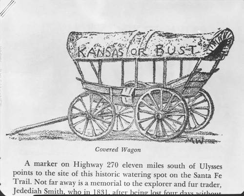 "Covered wagon with wording ""Kansas or Bust"" - Page"