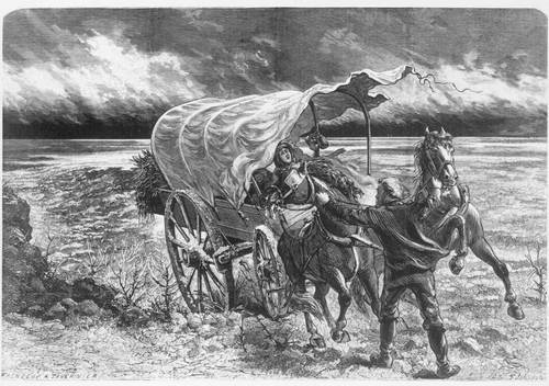 Family in covered wagon during a wind storm - Page
