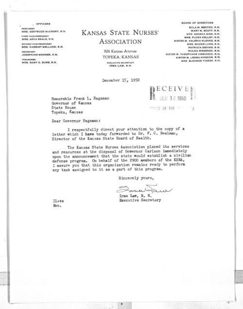Irma Law to Governor Frank Hagaman - Page