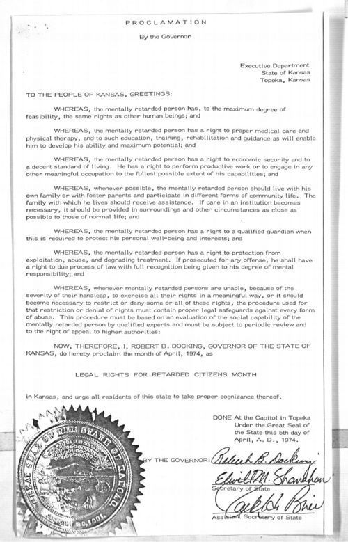 Governor Robert Docking proclamation - Page