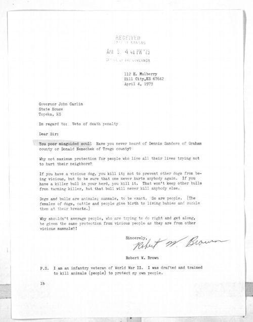 Robert W. Brown to Governor John Carlin - Page