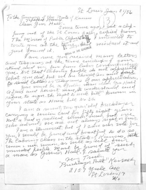 """""""Bricklayer Bill"""" Kennedy to Governor Fred Hall - Page"""