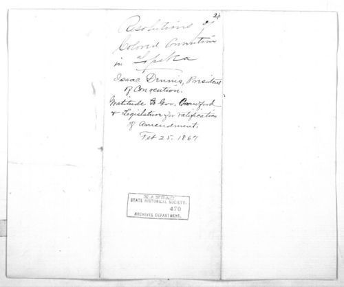 Colored people of Topeka to Governor Samuel J. Crawford - Page