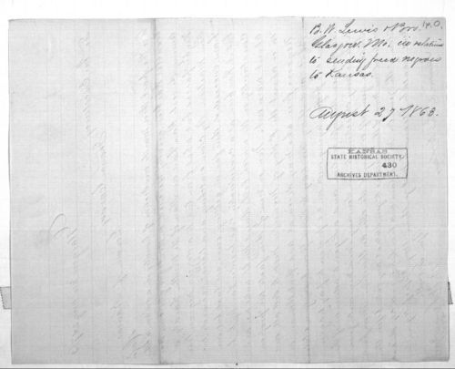 B. W. Lewis Bros. To Governor Thomas Carney - Page