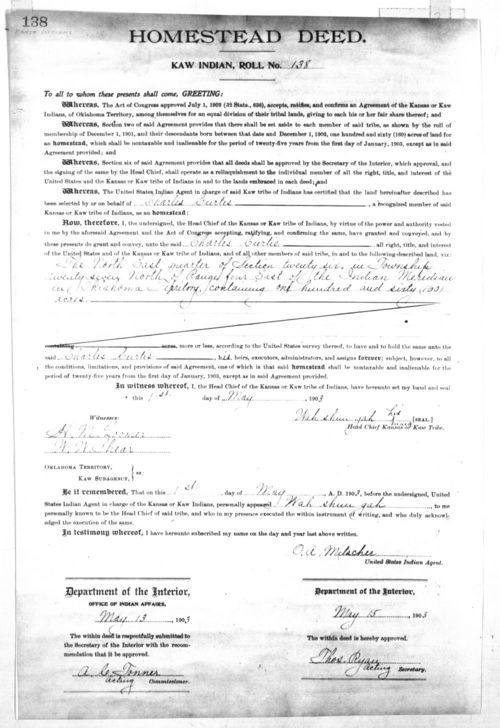 Homestead deed, Kaw Indian roll no. 138 - Page