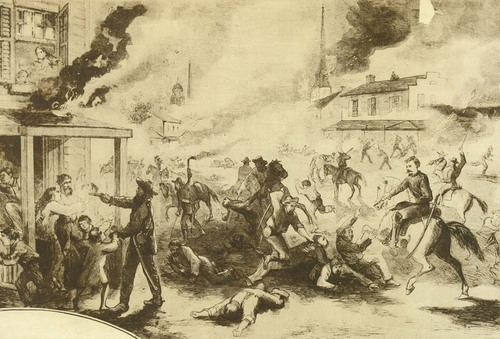 Illustration of Quantrill's raid on Lawrence