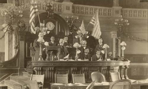 Speaker George L. Douglass in the House of Representatives, Topeka, Kansas - Page