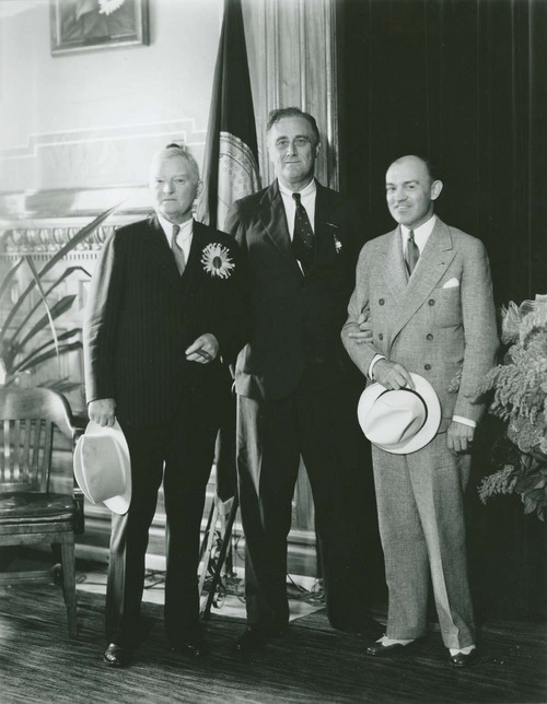 "President Franklin Delano Roosevelt with John Nance ""Jack"" Garner (left) and Harry Hines Woodring (right) - Page"