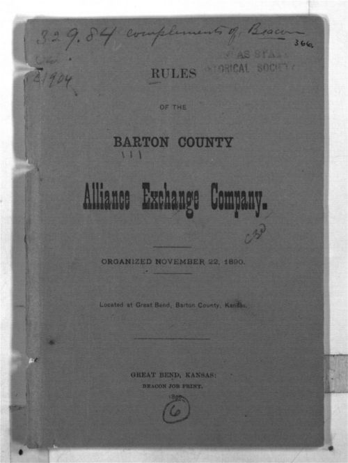 Rules of the Barton County Alliance Exchange Company - Page