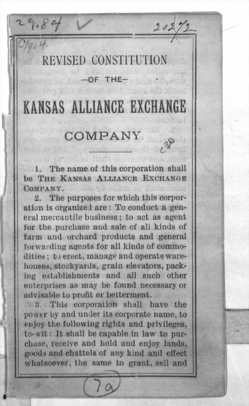 Revised constitution of the Kansas Alliance Exchange Company - Page