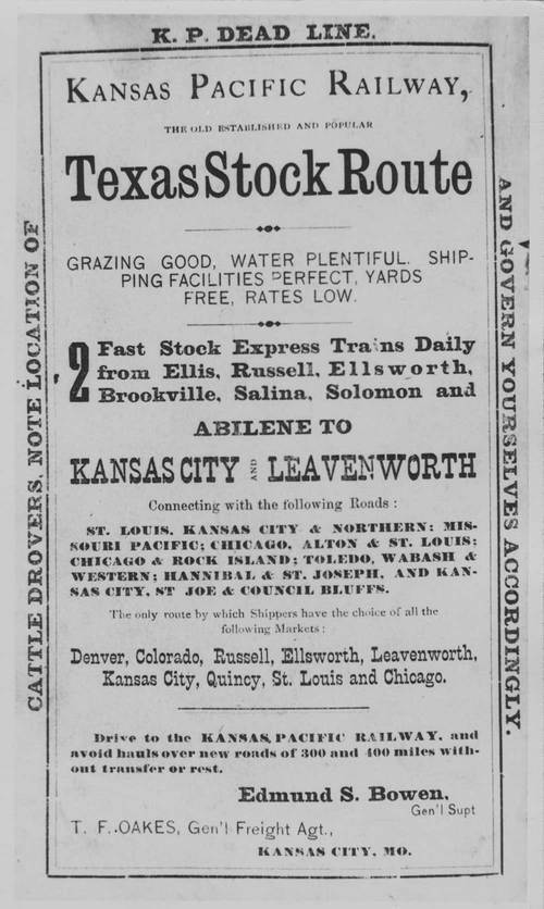Kansas Pacific Railway advertisement for cattle trade - Page