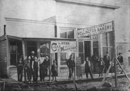View of West Harvey Avenue in Wellington, Kansas, Sumner County. A group of men and boys are seen standing outside a bakery and cigar manufacturer, between 1870 and 1889.