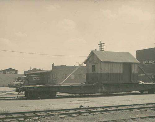 Broughton, Kansas, depot on a flatcar - Page