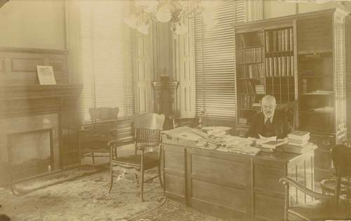 Edmund Needham Morrill, Kansas Governor, at his desk in the Kansas Capitol. - Page