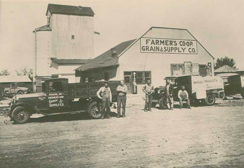 Photo of Farmer's Co-Op Grain & Supply Co. Ness City, Kansas, between 1920 and 1939.