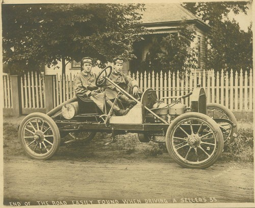 End of the road easily found when driving a Sellers 35 made by the Sellers Motor Car Company, Hutchinson, Kansas - Page