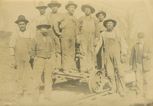 Railroad crew laying tracks near Baldwin, Kansas - Page