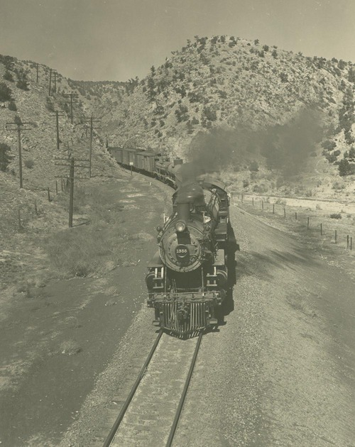Atchison, Topeka & Santa Fe Railway Company's steam locomotive #1355, Apache Canyon, New Mexico - Page