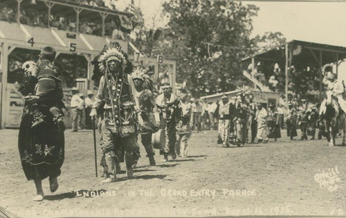 Pottawatomie Indians in the grand entry parade, Sidney, Iowa - Page